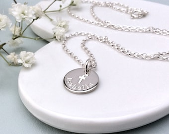Baptism gift, First Communion/ Confirmation/ Christening Gift for Goddaughter, Personalized sterling silver necklace, custom necklace, 12mm