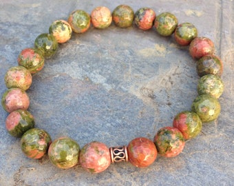 Unakite bracelet / faceted unakite beads