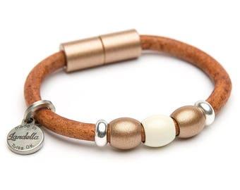 Chunky Copper Shimmer & Cream Leather Magnetic Landella 3 Domed Bead Bracelet