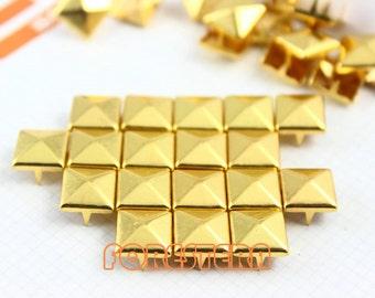500Pcs 10mm Gold Pyramid Studs Metal Studs (JP10)