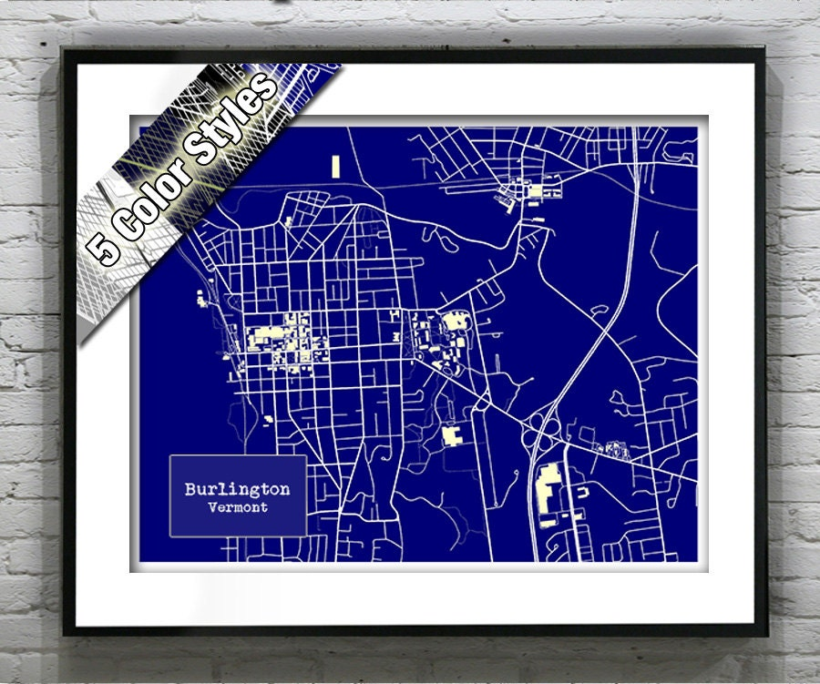 Burlington vermont blueprint map poster art print several sizes burlington vermont blueprint map poster art print several sizes available malvernweather Image collections