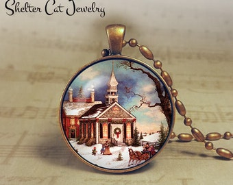 """Winter Wonderland with Church - 1-1/4"""" Circle Pendant or Key Ring - Colorful Snowy Scene - Vintage Christmas Present or Holiday Gift"""