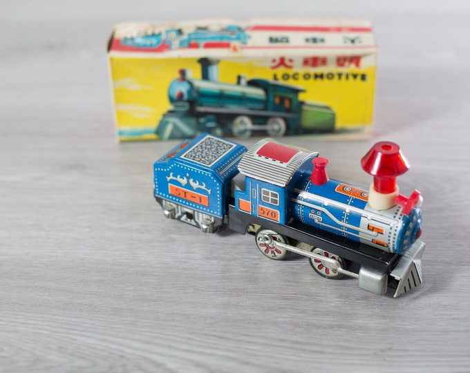 Vintage Locomotive Friction Powered Train / Collectible Antique Blue Metal Toy Functional