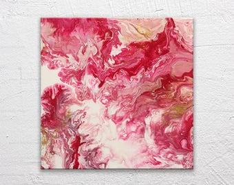 Return to Mars - Abstract Modern Marbled Painting in Red, Pink and Gold