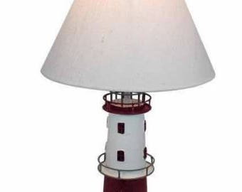 Maritime table lamp-metal with linen screen - height 48 cm lighthouse foot