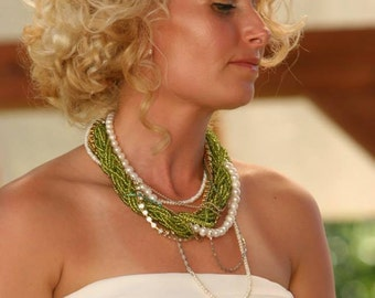 Lime Green  Necklace, Chunky Layered Freshwater Pearl Necklace , Rhinestone Necklace , brides bridesmaids