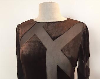 Vintage Bill Blass brown silk velvet geometric burnout dress NWT