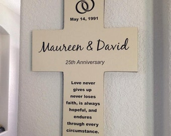 Anniversary or Wedding Wall Cross Personalized Names with date - Gift for Parents or couple - Handmade in the USA