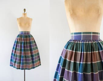1950s Greens Market forestry plaid cotton skirt / 50s fit n' flare