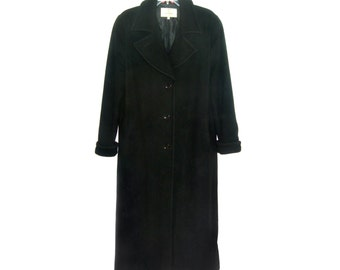 Vintage Casa Cashmere wool women long coat black