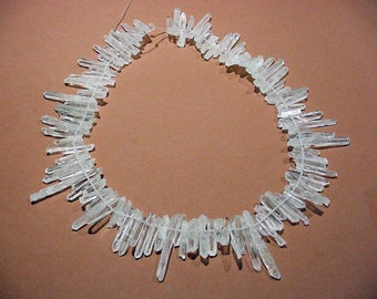 "SALE Full 17"" Strand Natural Quartz Crystal Points Matchstick Sticks Teeth Top Drilled Supply Beading Wire Wrapping Shards 105 pcs 18t82 A"