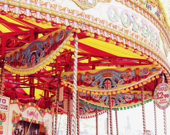 London Carousel Photograph - City Fairground - Bright Nursery Art - Dreamy Carousel Print - 12 x 18 inches