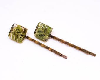 Green Ferns Resin Hairpins. Green Fern Frond Resin Hair Slides.   Pressed Flower Bobby Pins.  Real Flowers - Green Fern Fronds