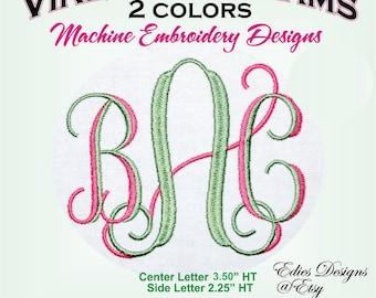 Vine Monograms 2 Color Machine Embroidery Designs Monogram Fonts BX Format Digital Download