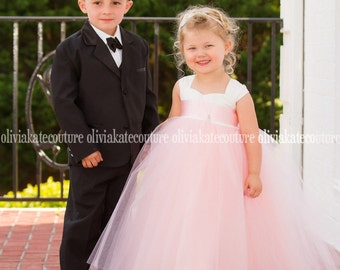 Girls Floor Length Dress, Flower Girl Dress, Flower Girl, Tutu Dress, Tulle Dress, Blush Dress