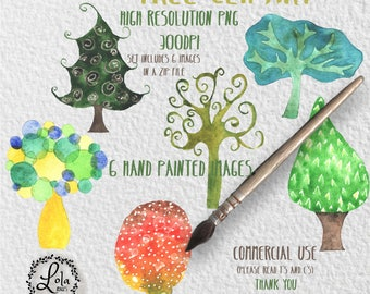 Tree Digital Clipart | Colorful Trees | Plants | Hand Painted Watercolor | Personal & Commercial Use | PNG Images