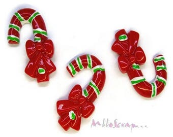 Set of 3 canes Christmas resin embellishments scrapbooking card making (ref.310). *.