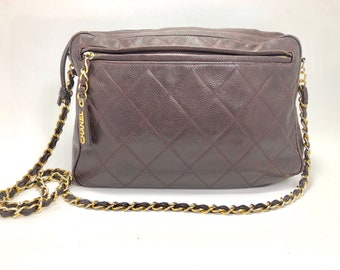 Vintage  Chocolate Brown 1980s Quilted  Chanel