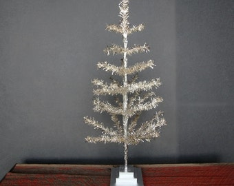 """36"""" Silver Feather Tinsel Christmas Tree Table-Top Centerpiece Tree"""