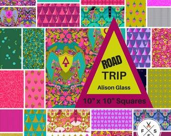 Pre-Order Alison verre Road Trip prédécoupés dix carrés carrés de coton de tissu Quilting Andover 10»