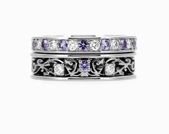 Lavender sapphire and white sapphire engagement ring set, filigree ring set, white gold ring, violet engagement ring, half eternity, unique