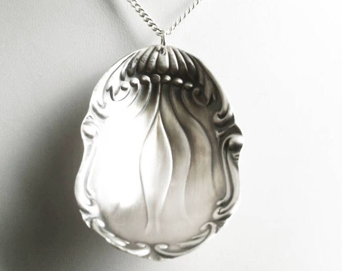 Repousse Spoon Bowl Necklace, Antique Sterling Silver Spoon Necklace, Organic Pendant, Rococo Jewelry, Unique Gift for Her Under 40 (6560)