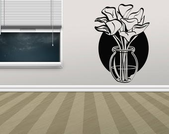 Wall Vinyl Sticker Decals Flowers Vase Plants Lilies Rose Dandelion Flower  Tulips Wall Decor 916t