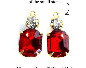 Red glass beads - 10x8 octagons with tiny rhinestones - color choice available - 18x8mm charms shown in ruby red and crystal - one pair