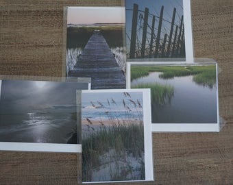 Set of FIVE Assorted Coastal Note Cards