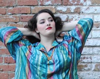 Tunic top, tunic blouse, blousy top, plus size top, plus size blouse, striped top, striped tunic, striped blouse, cute blouse, 70s tops