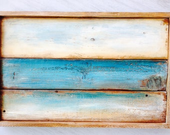 Reclaimed wood wall art seascape horizon teal ocean and sky distressed on wood & Reclaimed wood artcolor gray black blue distressed wood