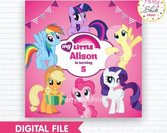 My Little Pony Backdrop, MLP Party Banner, Pony Backdrop, MLP Digital Poster, My Little Pony Party, Pony Birthday Banner, Digital File