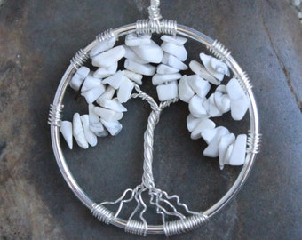 Howlite Tree of Life Wire Wrapped Pendant