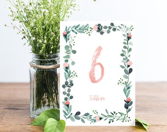 Garden Wedding Table Numbers, Wedding Table Numbers 1-20, Floral Wedding Table Numbers, Wedding Table Decor, Table Cards, INSTANT DOWNLOAD