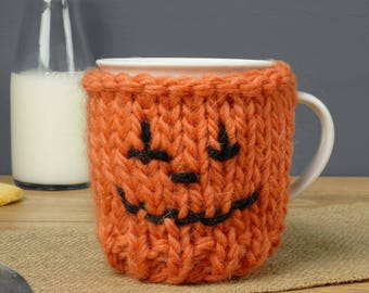 Pumpkin Mug Cosy, Knitted Cup Cosy, Halloween Party, Autumn Home Decor, Fall Home Decor, Thanksgiving Gift, Trick or Treat, Autumn Kitchen