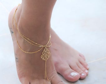 Gold Filled Foot Chain | Boho Style Barefoot Sandals | Rose Gold Ankle Bracelet | Gift For Her | Bridesmaid Gift | Foot Jewelry For Summer