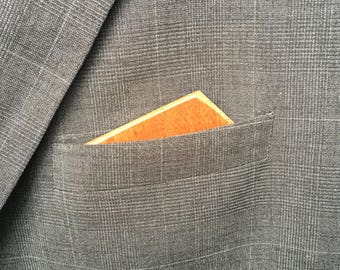 Wooden Reversible Pocket Square - Hickory Off Center