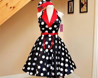 Pin up dress - rockabilly dress polka dots black & white .