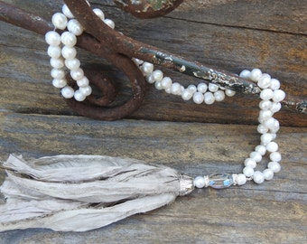 Silk tassel necklace Knotted pearl necklace Boho necklace Vintage necklace Beaded necklace