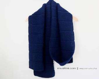 soft hand knit long scarf | knit garter scarf | knitted mens scarf || navy color scarf | winter scarf -navy 8 x 85''