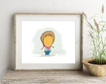 Fox Print, Cowboy print, Nursery wall art, Artwork for a babies room, childrens prints,Wall Art, childrens art, nursery decor, kids gift