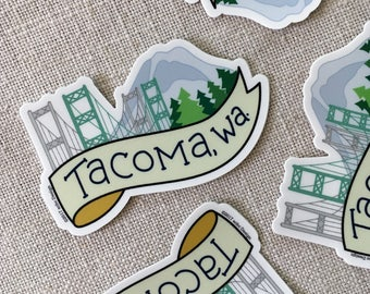 Tacoma Washington Vinyl Sticker, Mt Rainer, Tacoma Narrows Bridge, Laptop Sticker, Cool Illustrated Sticker, Washington Sticker, Pacific NW