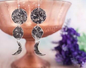 Silver Moon Phase Earrings - Moon Earrings - Moon Jewelry - Lunar Necklace - Boho Necklace