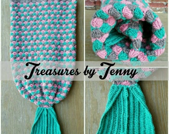 Mermaid Tails Blanket, Pink, Teal, Gray Mermaid Tails, Teal Tail, Mermaids, Lapghans, Afghans, Blankets, Child through Adult Sizes Available