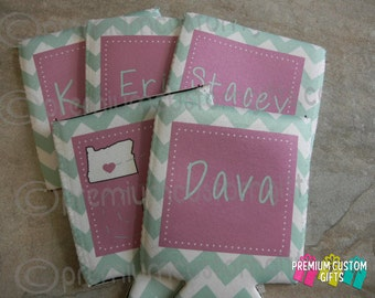 5 Custom Can Coolers - Vacation Can Coolers - Bachelorette Party Can Coolers - Monogrammed Neoprene Can Coolers - Personalized Can Coolies