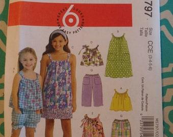 McCalls 5797, Girl's Dress and Shorts, Pants Pattern, Size 3, 4, 5, 6