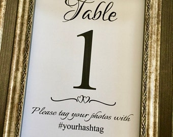 Wedding Hashtag Printed Table Numbers, Social Media Sign 5x7 Table Numbers,#YOURHASHTAG 5x7 Table Numbers,Printed Table Numbers