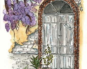 Wisteria, Watercolour and Ink PRINT