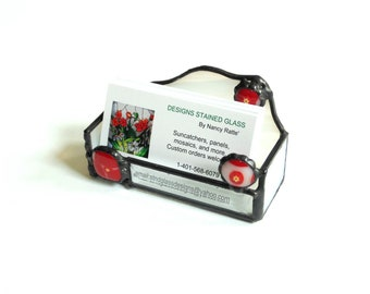 Business card holder desk accessory, card storage, white red fused glass, stained glass handmade gift for co worker