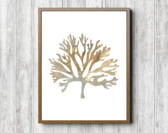 Watercolor Seaweed Wall Art   Sea Coral Art Print   Rustic Wall Art   Beach  Theme